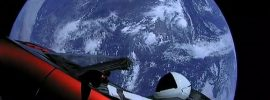 Red Roadster in space